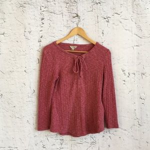 LUCKY BRAND PINK RIBBED SWEATER M